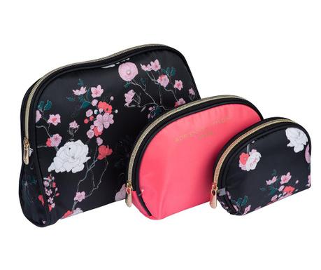 Set 3 kozmetičnih torbic Flower