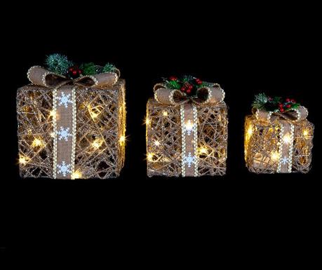 Zestaw 3 dekoracji świetlnych Christmas Presents