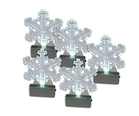 Sada 5 svetelných dekorácií Snowflakes