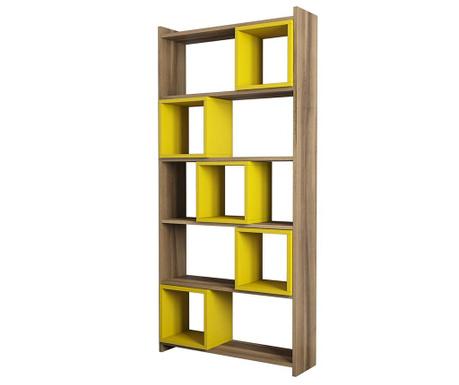 Knihovna Box  Walnut Yellow
