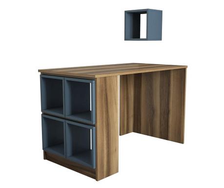 Sada psací stůl a 5 modulárních polic Box  Walnut Chalcedony
