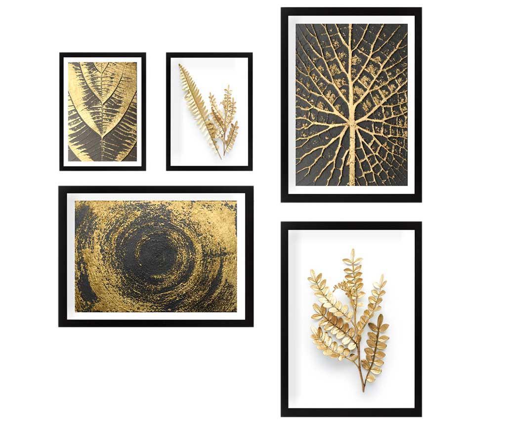 Sada 5 obrazů Nature Gold