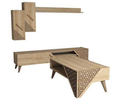 Sada konferenční stolek, TV Komoda a 1 závěsná skříňka Beril  Oak
