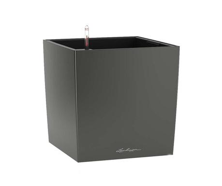Cube Premium Dark Grey Virágcserép önlocsoló rendszerrel és tartóval