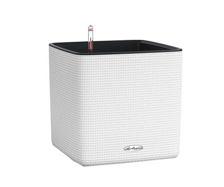 Set - cvetlični lonec z auto-namakalnim sistemom in držalo Cube Pure White