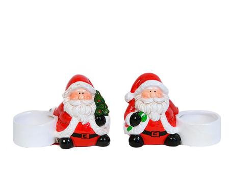 Set 2 suporturi pentru lumanare Santa Claus