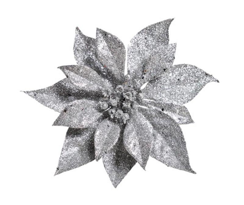 Ukras Poinsettia Glitter Silver