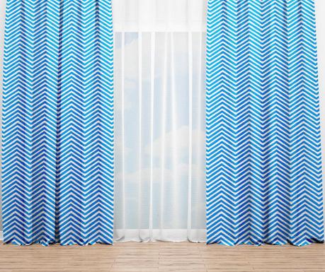 Sada 2 závěsů Zigzag Blue 140x240 cm