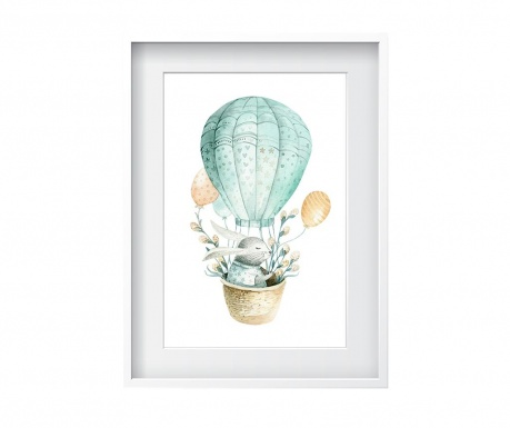 Tablou Air Balloon Rabbit 24x29 cm