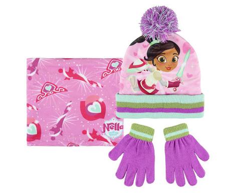 Σετ σκουφάκι, γάντια και κασκόλ παιδικό Nella the Princess Knight