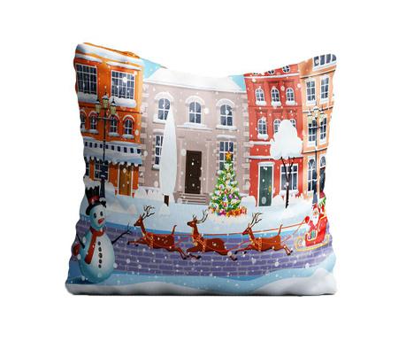 Perna decorativa Merry Christmas Town 43x43 cm