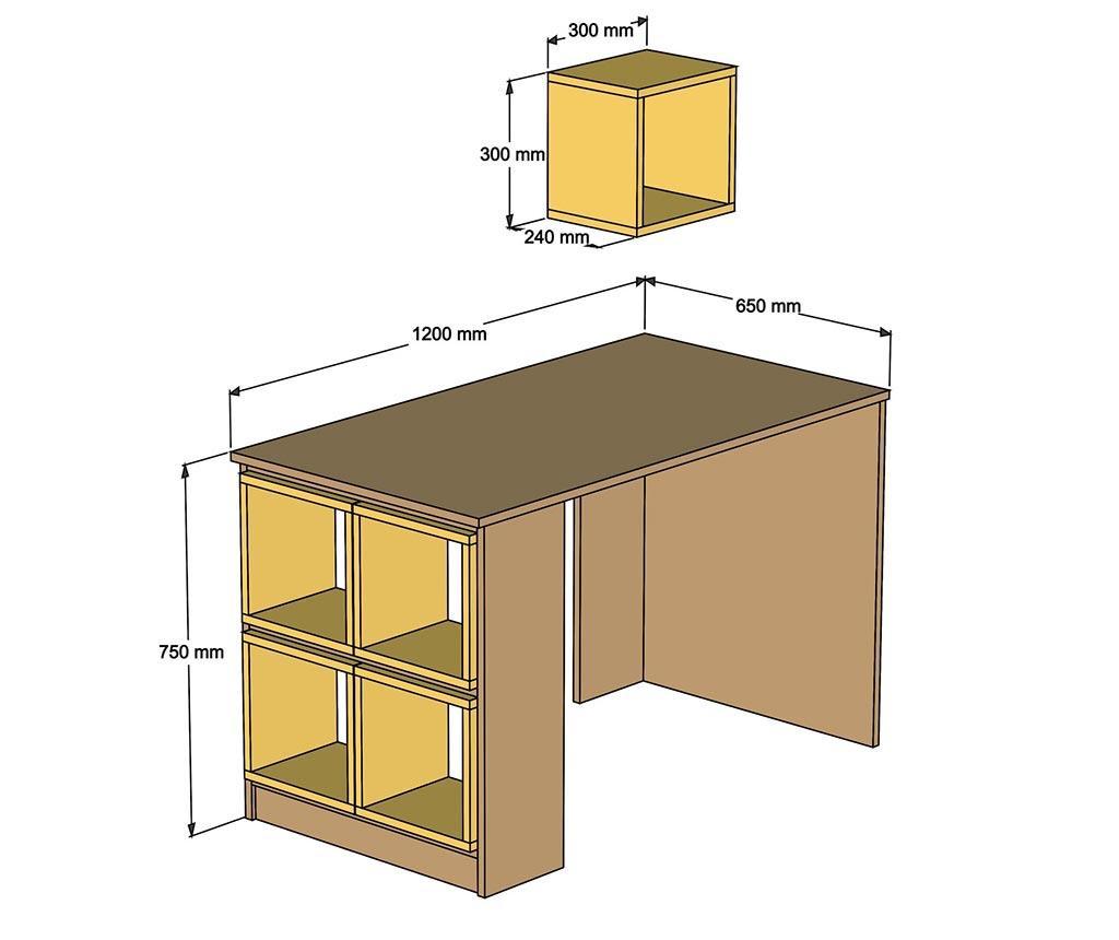 Devona White and Walnut Effect Íróasztal és 5 db Moduláris polc
