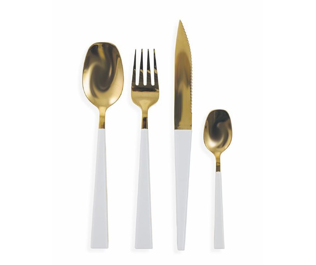 24-delni jedilni pribor Hemino Gold & White