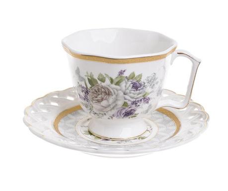 Сервиз 6 чашки и 6 чинийки Flowers