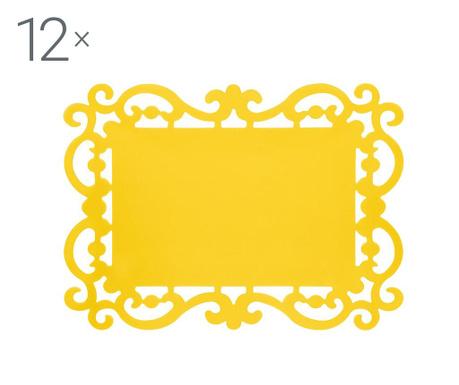 Комплект 12 подложки за хранене Baroque Yellow 32x44 см