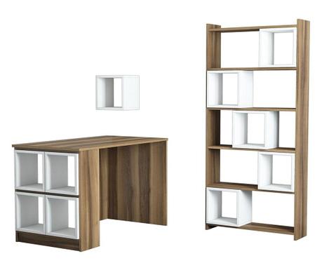 Set pisalna miza, knjižni regal in 10 modularnih polic Byrd White