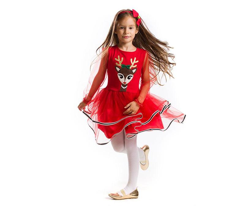Sukienka dziecięca z długim rękawem Tulle Deer 3 years