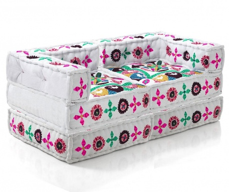 Комплект 2 пуфа и 2 възглавници за под Carsen White