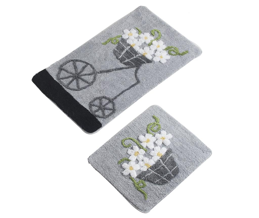 Bike Flowers Grey 2 db Fürdőszobai szőnyeg