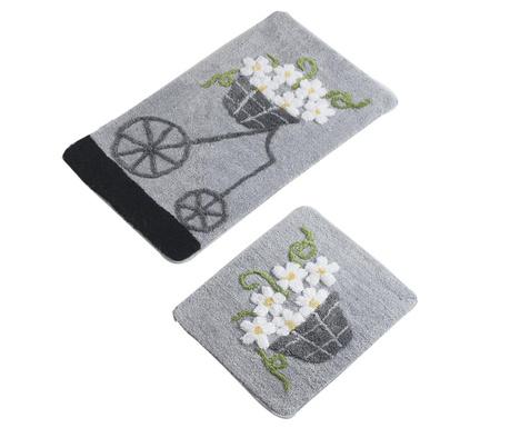 Σετ 2 χαλάκια μπάνιου Bike Flowers Grey