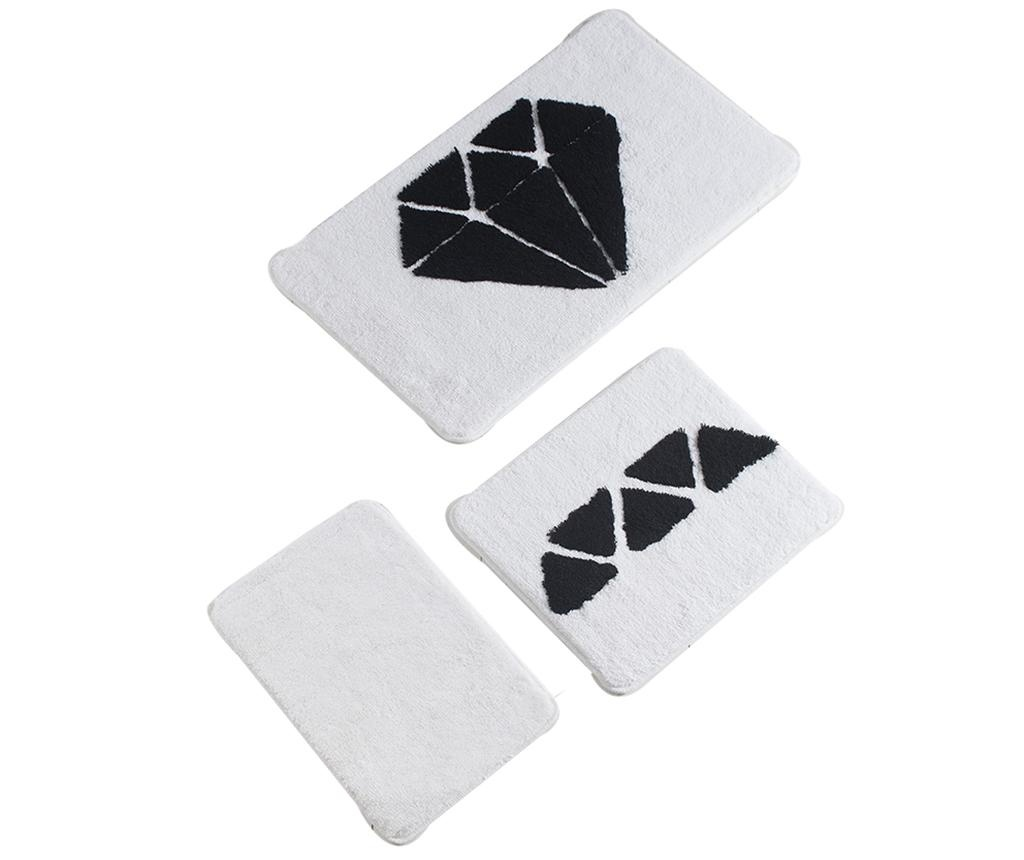 Set 3 covorase de baie Diamond Black White