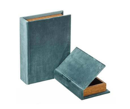 Set 2 škatel v obliki knjige Misty Blue