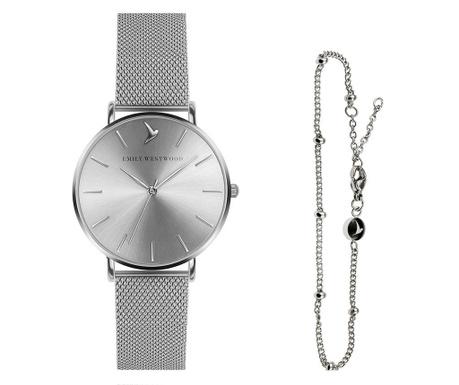 Σετ γυναικείο ρολόι  και αλυσίδα χειρός Emily Westwood Shine Glam Miriam Silver