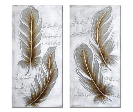 Set 2 tablouri Feathers 50x100 cm