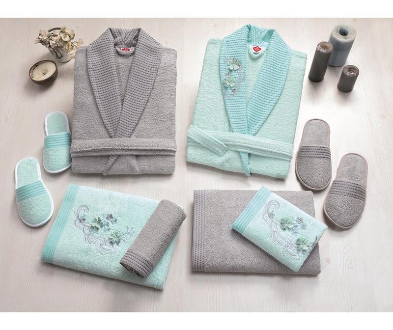 8-dijelni kupaonski set Family Flower Mint & Grey