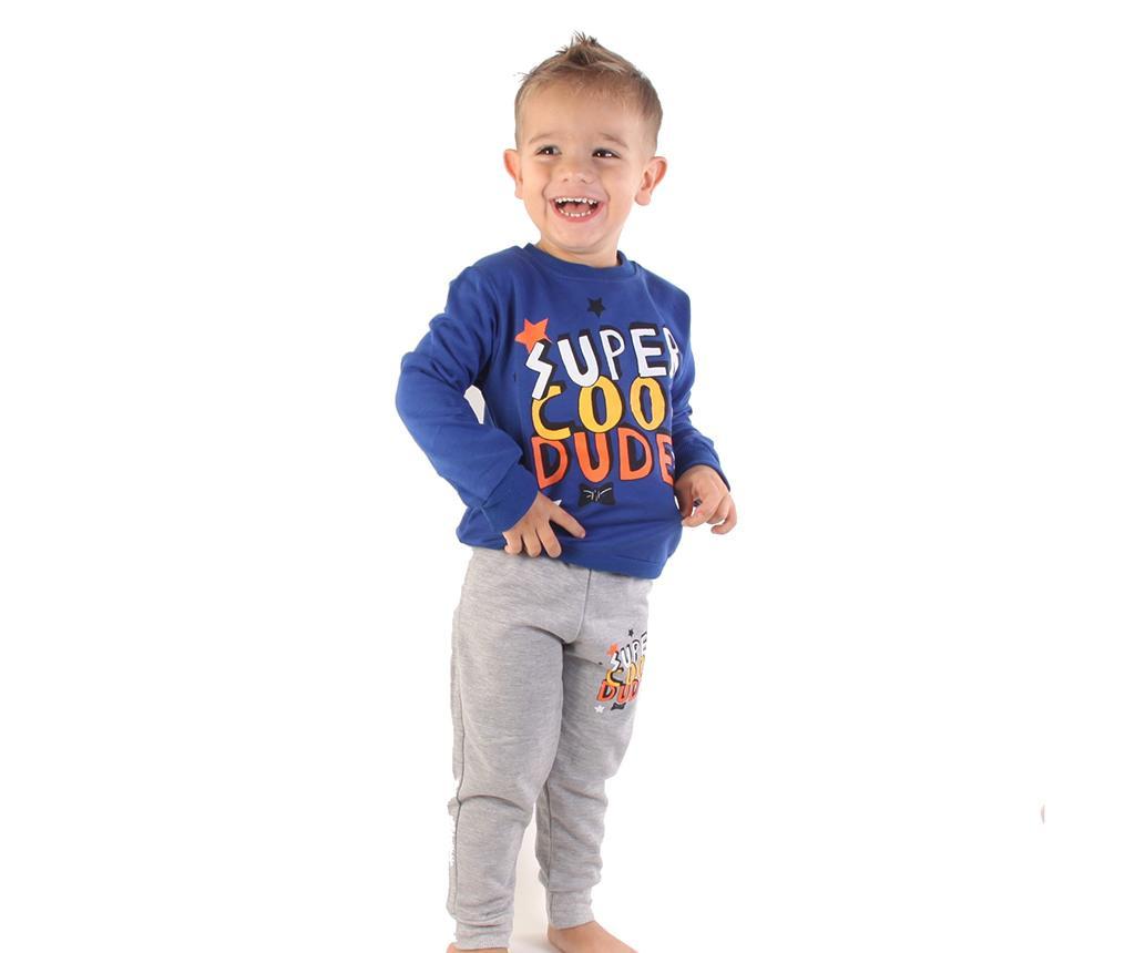Komplet - majica z dolgimi rokavi in dolge hlače Super Cool Dude Blue 2 years