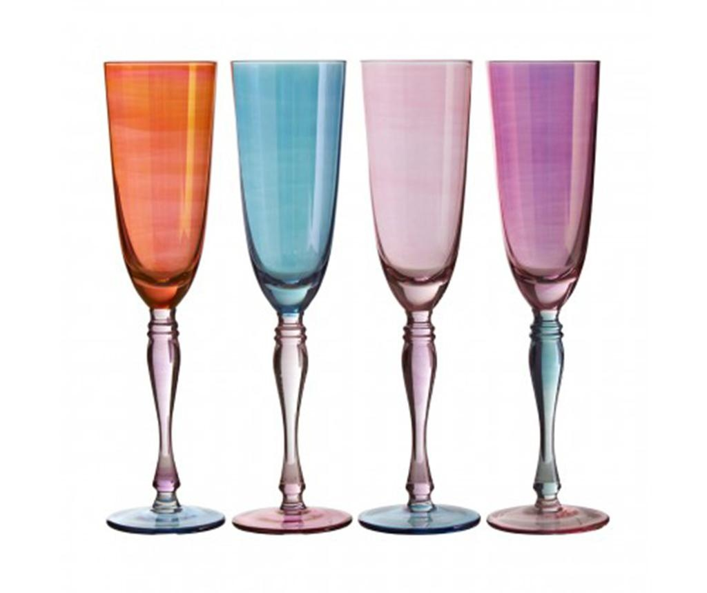 Set 4 kozarcev za šampanjec Aurora Pastel 273 ml