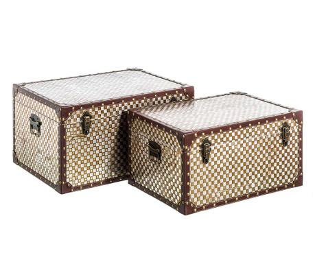 Zestaw 2 pudełek z pokrywką do przechowywania Vintage