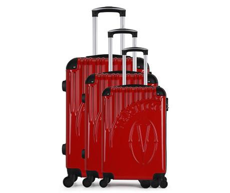 Osaka Red 3 db Gurulós bőrönd