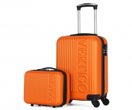 Zurich Orange Gurulós bőrönd és kozmetikai táska
