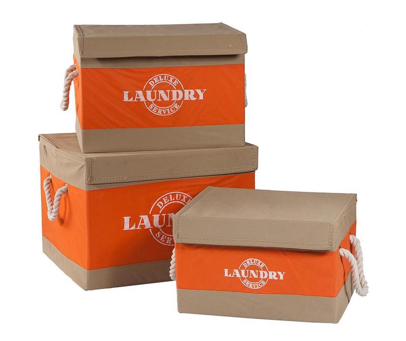 Set 3 cutii cu capac pentru depozitare Deluxe Orange