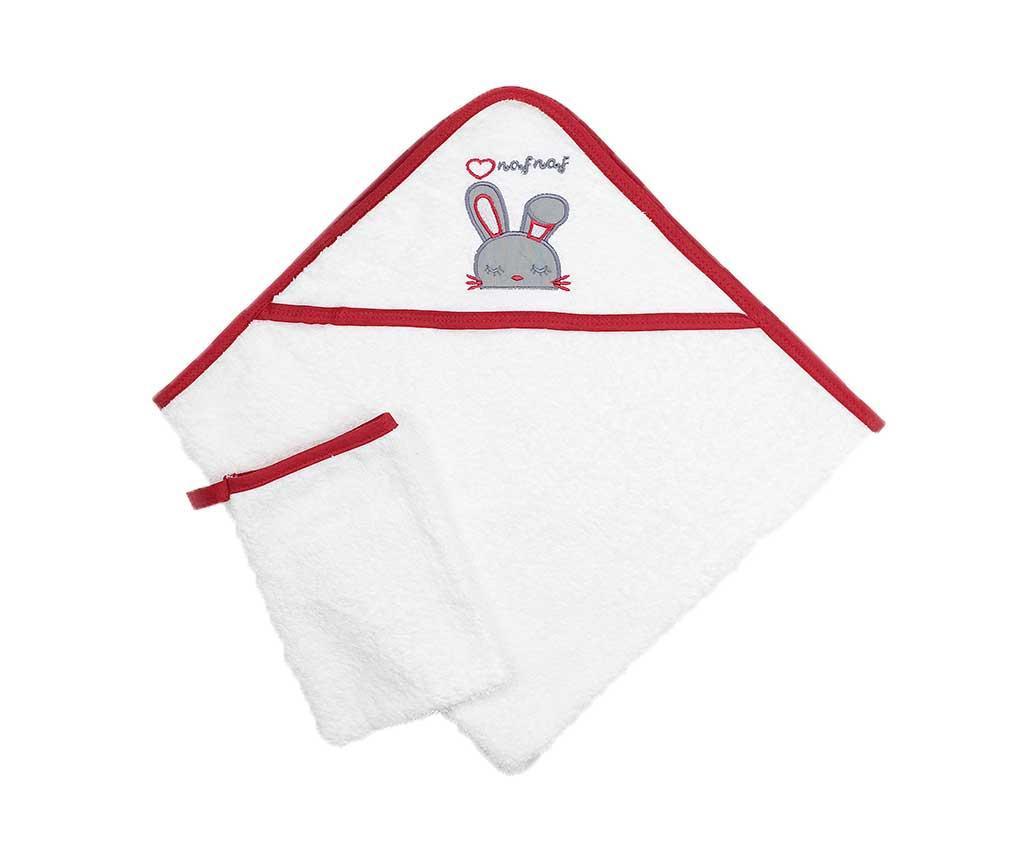 Set ručnik sa kapuljačom i rukavica za kupanje Rabbit