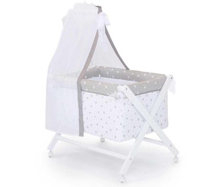 Set - otroška posteljica z baldahinom in dodatki Stars and Dots Grey White