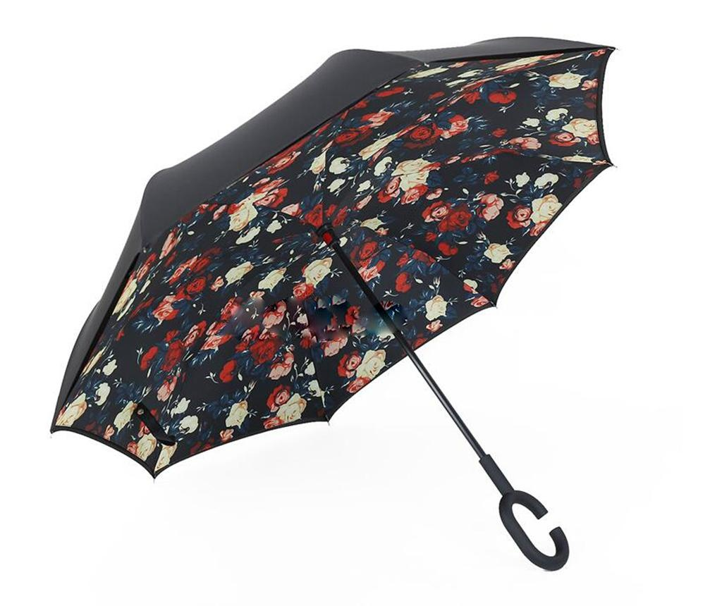 Umbrela Black and  Red Flowers Reversible