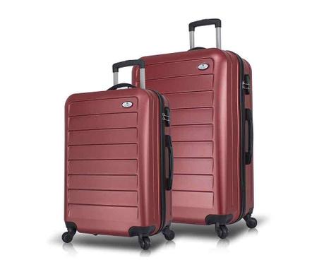 Set 2 kovčkov na kolesih Iuki Wide Claret Red