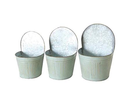 Sada 3 nástěnných květináčů Cornwall Silver