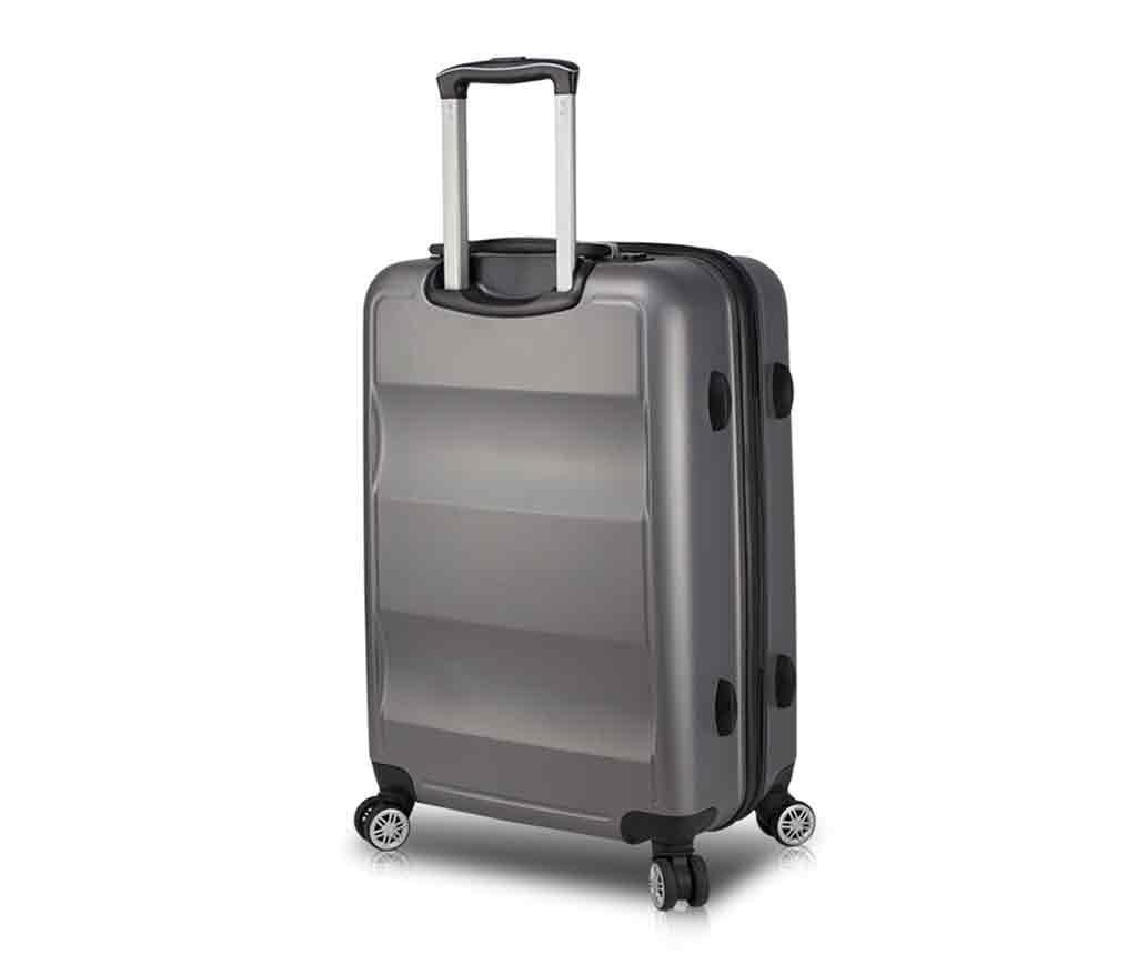 USB Hugh Anthracite Gurulós bőrönd