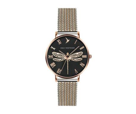 Γυναικείο ρολόι χειρός Emily Westwood Dragonfly Rose Black