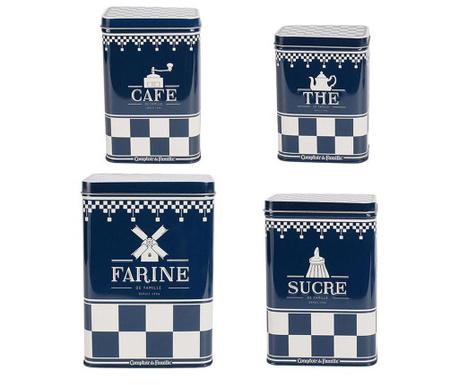 Zestaw 4 pudełek z pokrywką Cafe