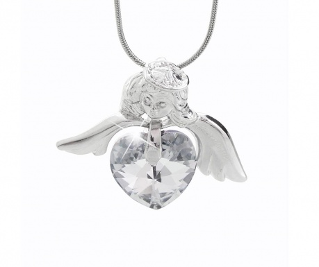 Retiazka s príveskom Laura Bruni Crystal Angel Heart White