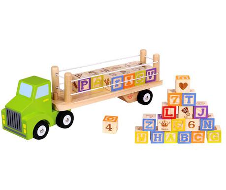 Set de construit 28 piese si camion de jucarie Alphabet & Number Truck