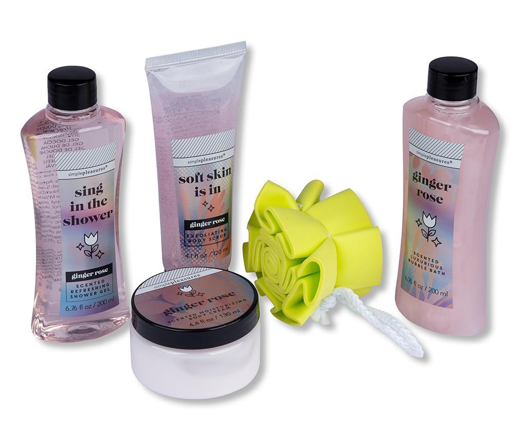 5-dijelni set kozmetičkih proizvoda za tijelo  i kozmetička torbica Ginger Rose