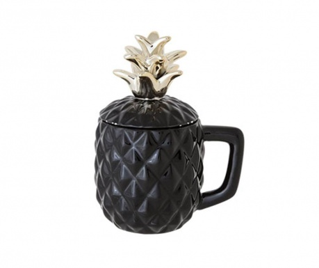 Skodelica s pokrovom Pineapple Black 375 ml