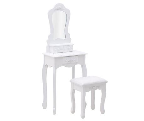 Zestaw toaletka i stołek Rose White