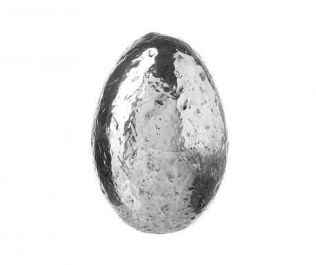 Decoratiune Resin Silver Egg