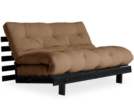 Sofa extensibila Roots Black & Mocca 140x200 cm